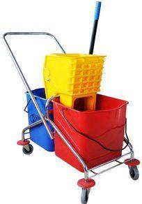 Carucior curatenie 2 x 30 litri, profesional, cadru metalic, maner mobil