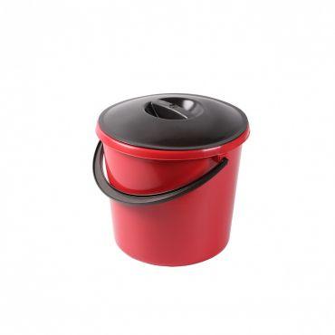 Galeata rotunda din plastic cu capac negru Eco, 10 litri